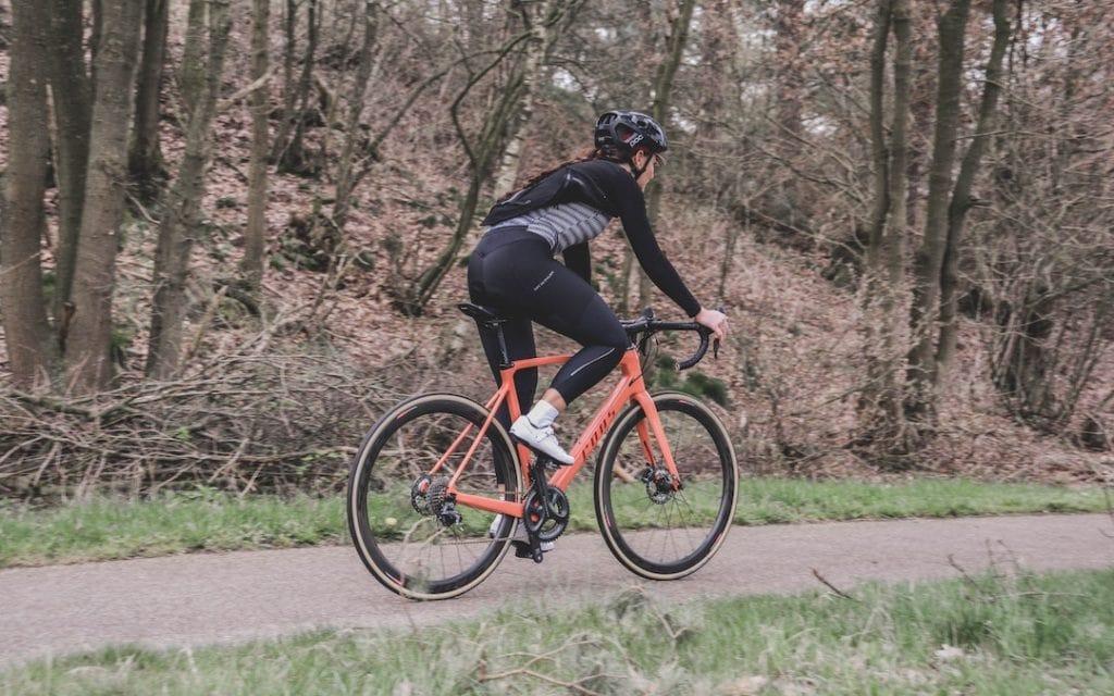 Fahrradhose Damen lang in schwarz